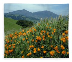 1a6493 Mt. Diablo And Poppies Fleece Blanket