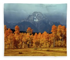 1m9235 Mt. Moran In Autumn Fleece Blanket