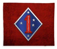1st Marine Division -  1st  M A R D I V  Insignia Over Red Velvet Fleece Blanket