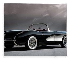 '56 Corvette Convertible Fleece Blanket