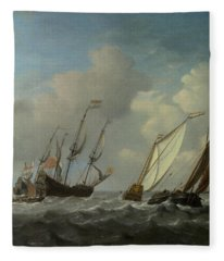 A Dutch Ship, A Yacht And Smaller Vessels In A Breeze Fleece Blanket