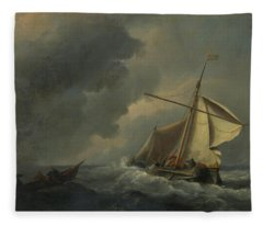 A Dutch Vessel In A Strong Breeze Fleece Blanket