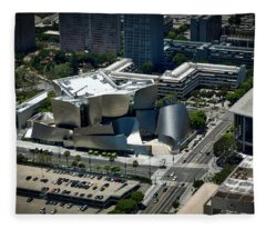 Aerial View Of The Walt Disney Concert Hall Fleece Blanket