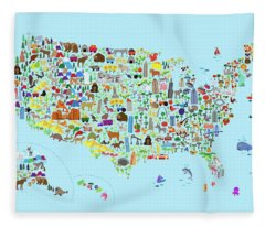 Animal Map Of United States For Children And Kids Fleece Blanket