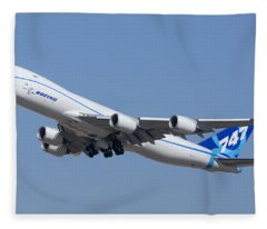Boeing 747-8 N50217 At Phoenix-mesa Gateway Airport Fleece Blanket