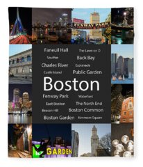 Boston Ma Collage Fleece Blanket