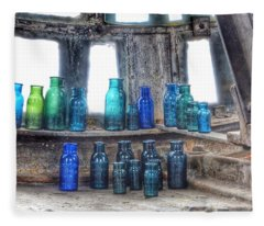 Bromo Seltzer Vintage Glass Bottles  Fleece Blanket