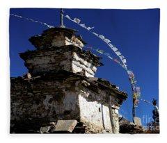 Buddhist Gompa And Prayer Flags In The Himalaya Range, Annapurna Region, Nepal Fleece Blanket