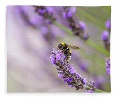 Bumblebee And Lavender Fleece Blanket