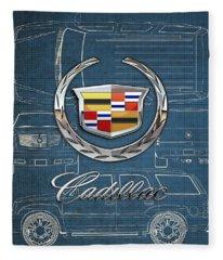 Cadillac 3 D Badge Over Cadillac Escalade Blueprint  Fleece Blanket
