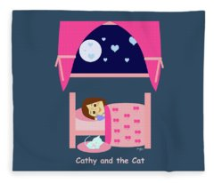 Cathy And The Cat At Night Fleece Blanket