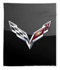 Chevrolet Corvette 3d Badge On Black Fleece Blanket