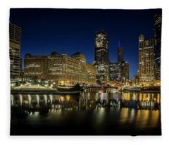 Chicago River And Skyline At Dawn Fleece Blanket
