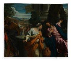 Christ And The Samaritan Woman Fleece Blanket