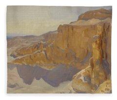 Cliffs At Deir El Bahri, Egypt Fleece Blanket