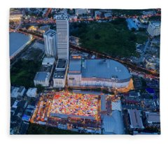 Fleece Blanket featuring the photograph Colourful Night Market Aerial View by Pradeep Raja PRINTS