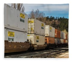 Container Train Fleece Blanket