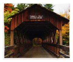 Covered Bridge At Allegany State Park Fleece Blanket