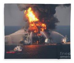Deepwater Horizon Fire, April 21, 2010 Fleece Blanket