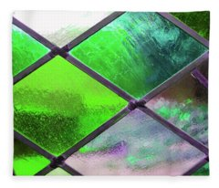 Diamond Pane Glass Green Fleece Blanket