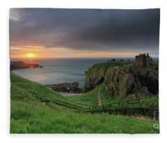 Dunnottar Castle At Sunrise Fleece Blanket