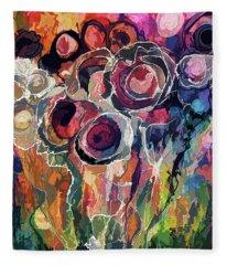 Floral Abstract  Fleece Blanket