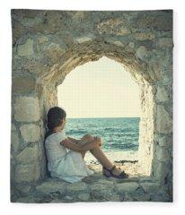 Girl At The Sea Fleece Blanket
