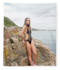 Girl In Black Swimsuit Fleece Blanket