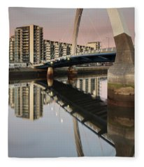 Glasgow Clyde Arc Bridge At Sunset Fleece Blanket