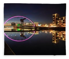 Glasgow Clyde Arc Bridge At Twilight Fleece Blanket