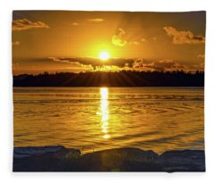 Golden Sunrise Waterscape Fleece Blanket