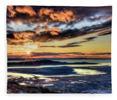 Great Salt Lake Sunset Fleece Blanket