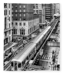 Historic Chicago El Train Black And White Fleece Blanket
