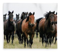 Horse Herd On The Hungarian Puszta Fleece Blanket