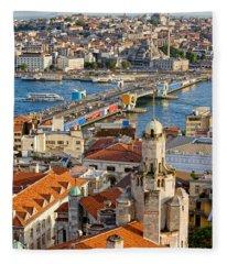Istanbul Cityscape Fleece Blanket
