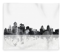 Kansas City Missouri Skyline Fleece Blanket
