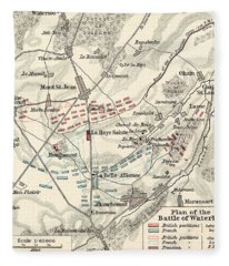 Map Of The Battle Of Waterloo Fleece Blanket