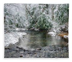 March Snow Cranberry River Fleece Blanket