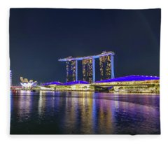 Marina Bay Sands And The Artscience Museum In Singapore Fleece Blanket