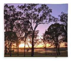 Misty Rural Scene With Dam And Trees Fleece Blanket