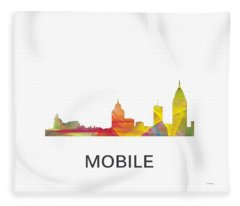 Mobile Alabama Skyline Fleece Blanket
