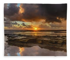 Overcast And Cloudy Sunrise Seascape Fleece Blanket