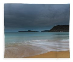 Overcast Cloudy Sunrise Seascape Fleece Blanket