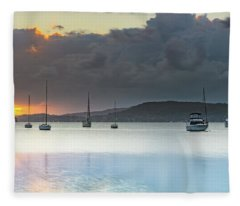 Overcast Sunrise Waterscape Fleece Blanket