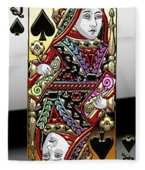 Queen Of Spades  Fleece Blanket
