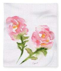 2 Roses Abstract Fleece Blanket