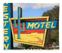 Route 66 - Western Motel Fleece Blanket