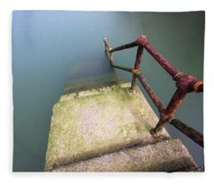 Rusty Handrail Going Down On Water Fleece Blanket