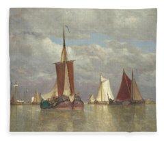 Ships Lying Near Dordrecht Fleece Blanket