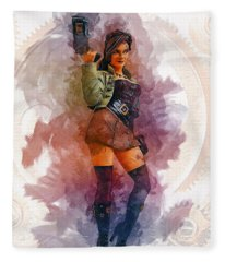 Steampunk Girl Fleece Blanket